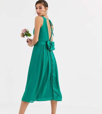TFNC Tall Tall Bridesmaid midi dress with satin bow back in emerald green