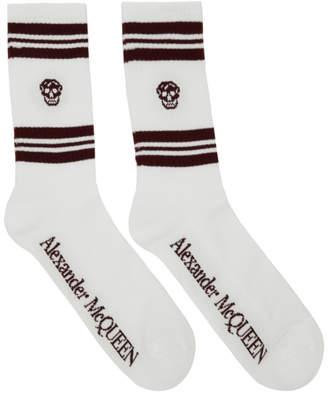 Alexander McQueen White and Burgundy Stripe Skull Sport Socks