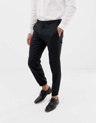 HUGO Taylor slim fit cuff hem dress pants in black