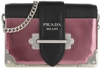 b34b6280c1a9 Prada Cahier Shoulder Bag Metallic Leather Ibisco/Nero