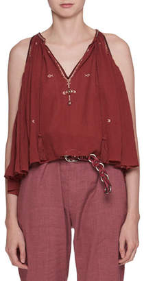Etoile Isabel Marant Mysen Sleeveless Cotton Blouse with Embroidery Trim