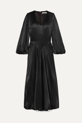Ganni Polka-dot Hammered-satin Maxi Dress - Black