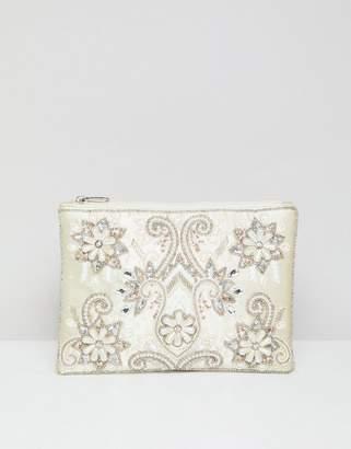 True Decadence Embellished Zip Top Clutch