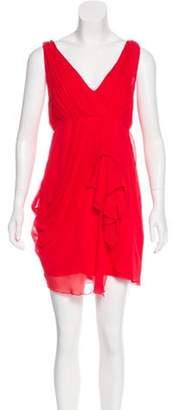 Alice + Olivia V-Neck Silk Mini Dress Red V-Neck Silk Mini Dress