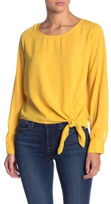 Socialite Tie Front Long Sleeve Blouse