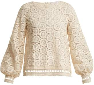 See by Chloe Geometric-lace cotton blouse