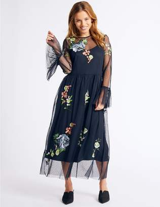 Marks and Spencer PETITE Embroidered Skater Midi Dress