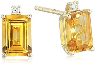 Effy Women's 14K Gold Citrine/Diamond Stud Earrings