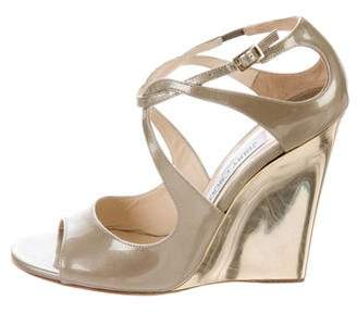 Jimmy Choo Patent Leather Wedge Sandals w/ Tags