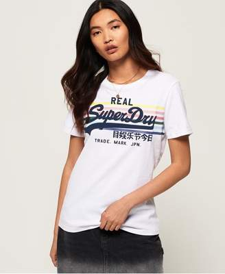 Superdry Vintage Logo Rodeo Rainbow Stripe T-Shirt