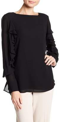 Badgley Mischka Ruffle Sleeve Silk Top