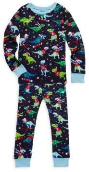 Hatley Little Boy's& Boy's Two-Piece Winter Sports T-Rex Cotton Pajama Set