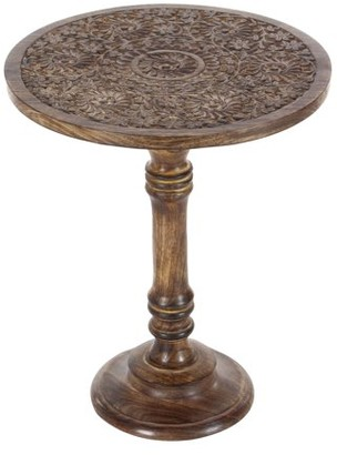 DecMode Decmode Traditional 21 X 17 Inch Carved Mandala Design Mango Wood Round Table , Brown