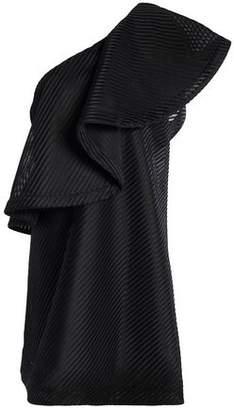 Halston One-Shoulder Ruffled Ribbed Mesh Mini Dress