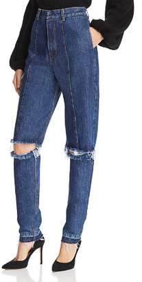Ksenia Schnaider Cutout Straight Jeans in Medium Blue