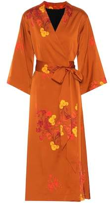 Ellery Bishop floral satin wrap dress