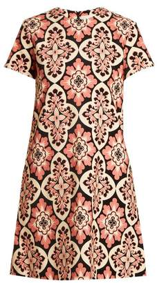 La doublej La Doublej - Tile Print Cotton Velvet Dress - Womens - Pink Multi