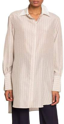 Chloé Chain-Striped Oversized Button Front Top