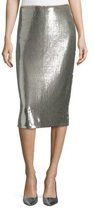 Diane von Furstenberg Sequined Midi Pencil Skirt, Silver $698 thestylecure.com