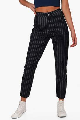 boohoo High Rise Stripe Skinny Tube Jeans