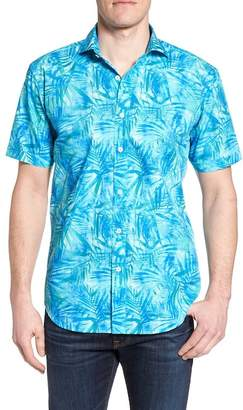 Bugatchi Tropical Shaped Fit Print Sport Shirt