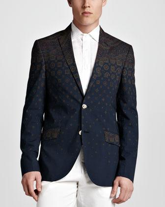 Etro Minerva Striped Foulard Sport Coat