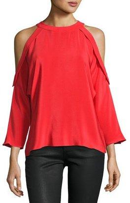 Ramy Brook Vivica Silk Crepe Cold-Shoulder Top, Spring Red $345 thestylecure.com