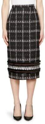 Roland Mouret Norley Check Weave Stretch Pencil Skirt