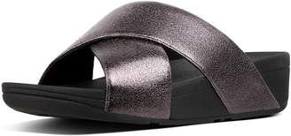 FitFlop Lulu Faux Leather Cross Slides