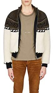 Saint Laurent Men's Fair Isle Wool-Blend Sweater Jacket - Ivorybone