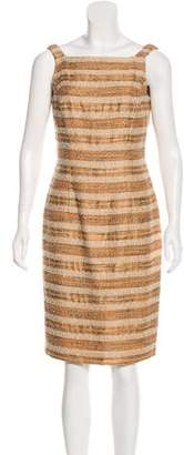 Carmen Marc Valvo Beaded Striped Dress