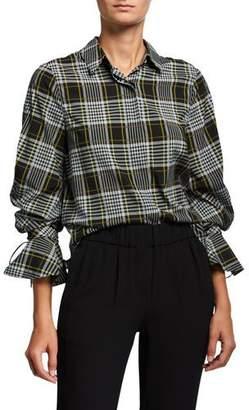 Jonathan Simkhai Plaid Print Tied-Sleeve Button-Down Shirt