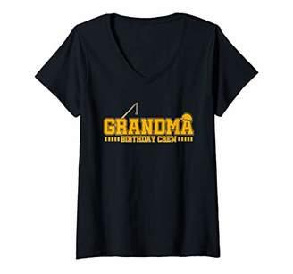 Womens Grandma Birthday Crew Construction Birthday Party V-Neck T-Shirt