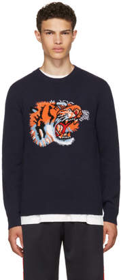 Gucci Blue Intarsia Loved Tiger Sweater