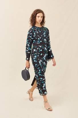 Mansur Gavriel Floral Embellished Silk Evening Gown - Black