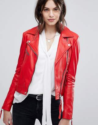 Lab Leather Jacket with Asymmetric Zip