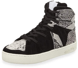 Haculla Men's Henri High-Top Sneakers with Python-Print Trim