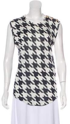 Balmain Silk-Blend Patterned Sleeveless Top