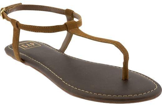 Suede T-strap sandals