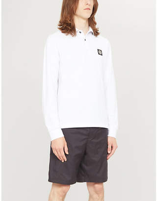 Stone Island Mens White Badge Chest Stretch Cotton Polo Shirt