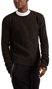 Taverniti So Ben Unravel Project Men's Distressed Rib-Knit Wool-Cashmere Sweater - Dk. brown