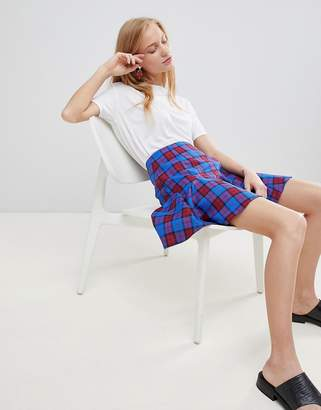 Asos Design DESIGN tailored blue and red check mini skirt with godet hem