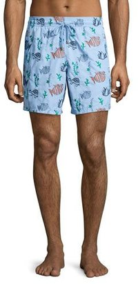 Vilebrequin Mistral Moonfish-Embroidered Swim Trunks, Blue $590 thestylecure.com