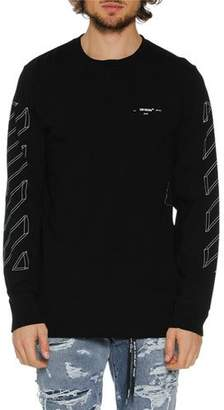 Off-White Men's Diagonal 3D Lines Long-Sleeve T-Shirt
