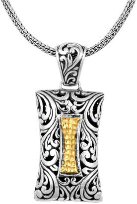 "Bali Heritage Signature Carving Hamerred Sterling Silver Pendant Necklace embellished by 18K Gold Accents, 20"" Length"