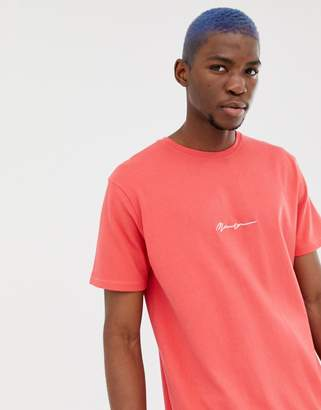 Mennace oversized t-shirt in red with script logo