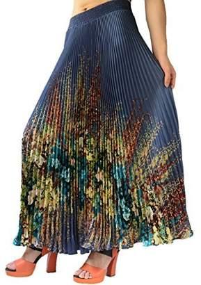 "YSJ Womens Long Maxi Skirt - 35.4"" Flora Sunray Pleated Chiffon Bohemian Chic Full Skirts"