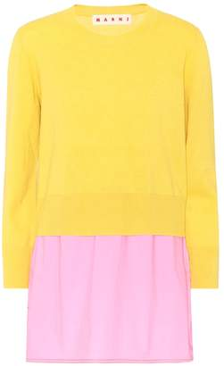 Marni Layered wool, cotton and cashmere top