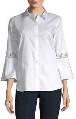 Calvin Klein Quarter-Sleeve Button-Down Shirt