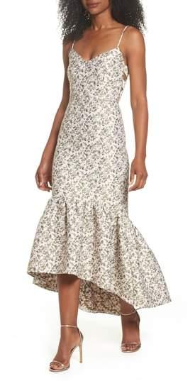 Jacquard High/Low Midi Dress